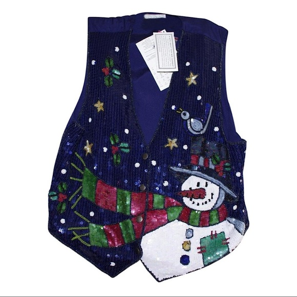 Quacker Factory Tops - Quacker Factory Sequin Holiday Vest
